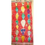Morocco old, around 1970, fabric knotted on cotton, approx. 346 x 160 cm, condition: 2.