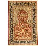 Silk Hereke fine Sign, Turkey, approx. 50 years, pure natural silk, approx. 157 x 104 cm, condition: