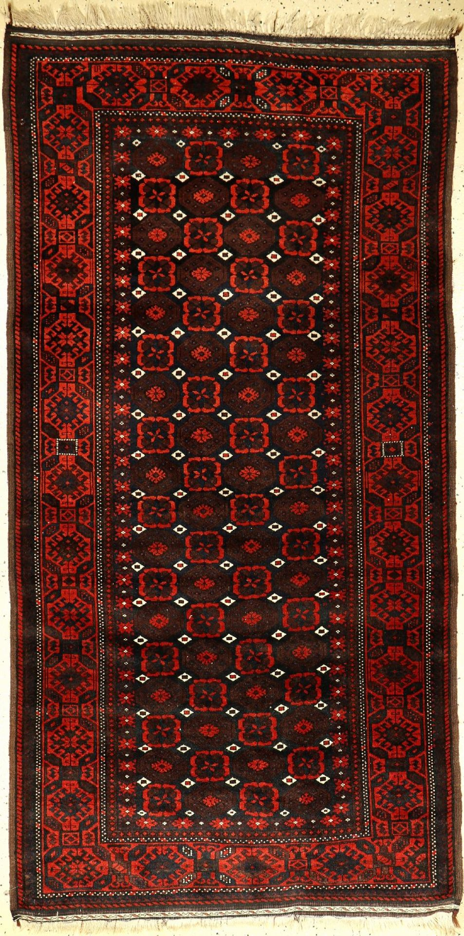 Fine Baluch old, Persia, around 1920, wool on wool, approx. 210 x 107 cm, Mina-Khani, condition: