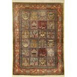 Fine silk Qum, Persia, approx. 50 years, pure natural silk, approx. 154 x 108 cm. Auction: