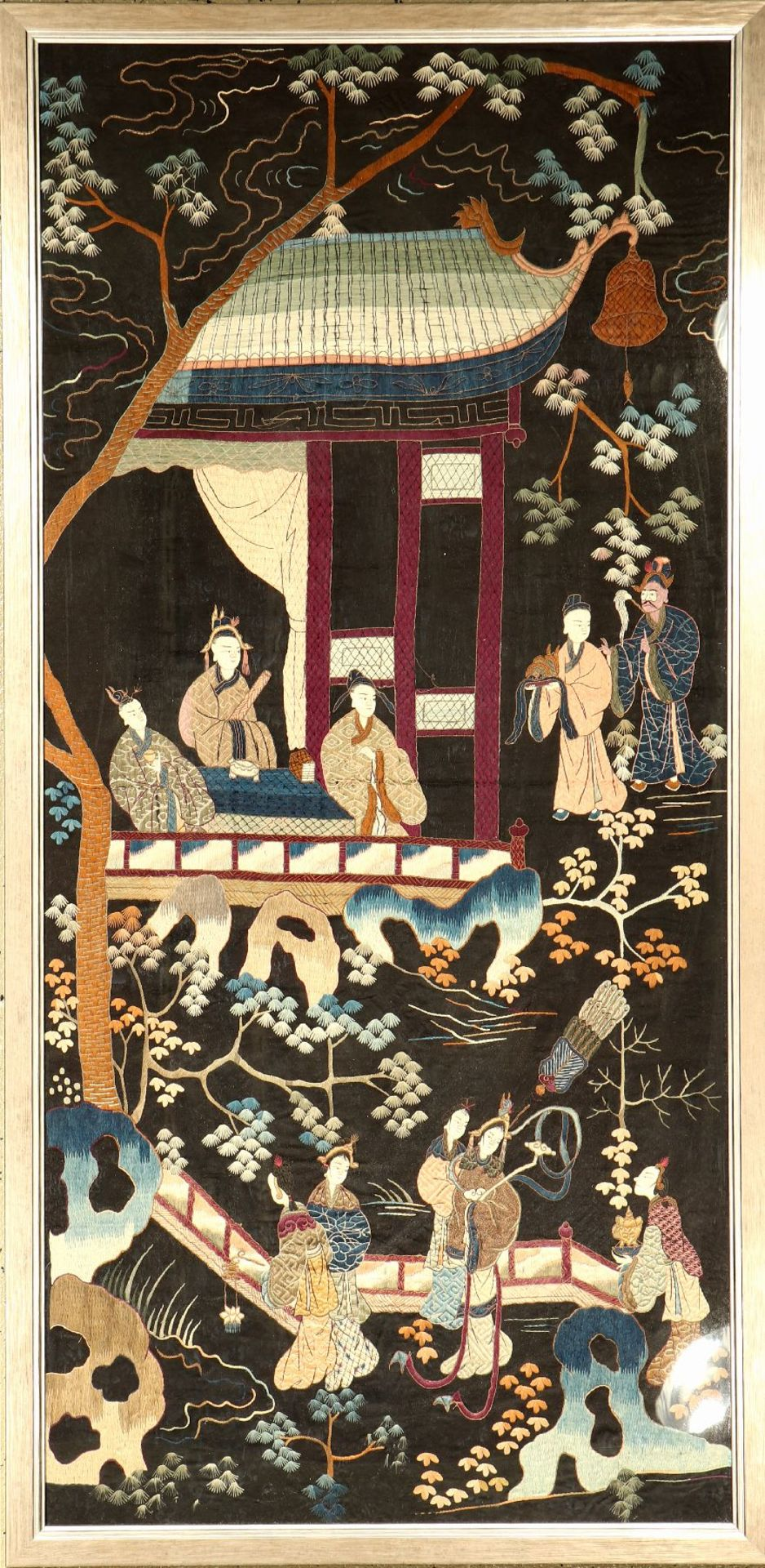 Chinese antique silk embroidery, China, 19th century, silk, approx. 162 x 80 cm, condition:2.
