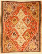Senneh Kilim old, Persia, around 1920, wool oncotton, approx. 122 x 100 cm, rare format,
