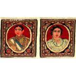 Khorassan Rug (Shah Pahlavi and Soraya), Persia, around 1960, wool on cotton, approx. 50 x 45 cm,