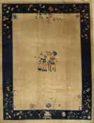 Beijing old, China, around 1920, wool on cotton, approx. 351 x 272 cm, condition: 3. Auction: