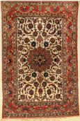 Isfahan old, Persia, approx. 50 years, wool onsilk, approx. 221 x 142 cm, condition: 3. Auction: