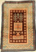 Rya old, Sweden, around 1920, wool on wool, approx. 140 x 96 cm, rare, condition: 3-4, damaged