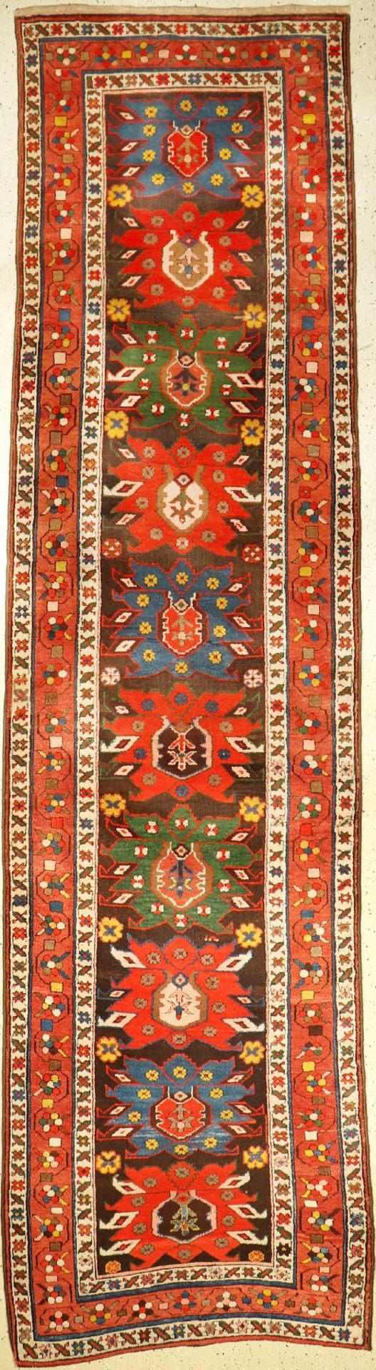 "Karabagh ""Galerie"" antique, Caucasus, around 1890, wool on wool, approx. 380 x 95 cm, rare,full"