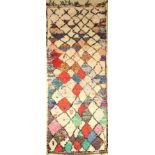 Morocco old, around 1970, fabric knotted on cotton, approx. 326 x 127 cm, condition: 2.