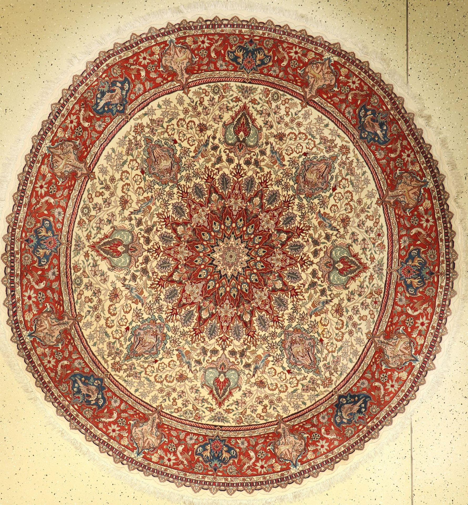 Tabriz fine, China, approx. 30 years, wool with and on silk, approx. 206 cm, condition: 2.