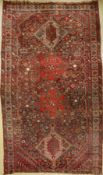 Antique Khamseh, Persia, around 1890, wool on wool, approx. 390 x 225 cm, condition: 4-5, shortened.