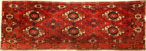 Very fine Tekke Torba, Turkmenistan, 19th century, wool on wool, approx. 113 x 39 cm, six-gul