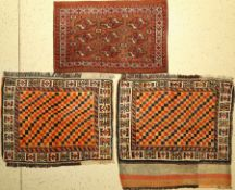 (3 lots) 1x Yomud Tschowal 2x Gabbeh large pocket fronts old, Turkmenistan / Persia, around 1 900/