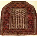"Göklan Salatchak ""saddle"", antique, Northeast Persia, around 1900, group of the Jomuden, wool on"