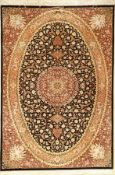 Silk Qum very fine (Signed), Persia, approx. 15 years, pure natural silk, approx. 200 x 136cm,