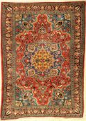 Saruk Farahan old, Persia, around 1930, cork wool, approx. 155 x 110 cm, natural colors, rare,