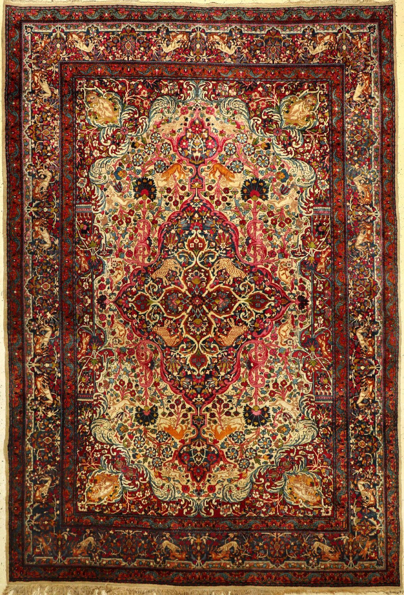 Yazd Carpet antique, Persia, around 1900, woolon cotton, approx. 330 x 222 cm, rare, decorative,