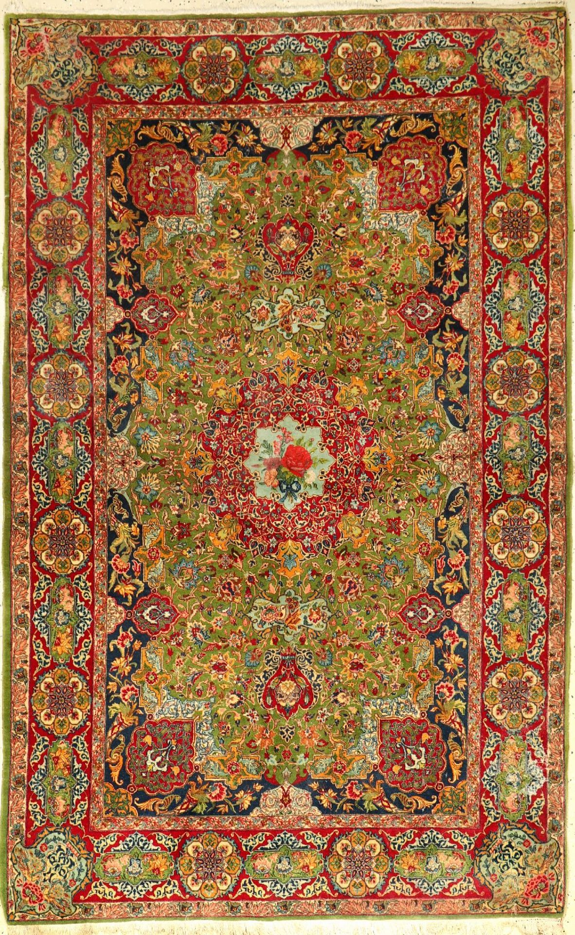 Very fine green Isfahan old, Persia, around 1930, wool knotted on cotton, approx. 2 15 x 136 cm,