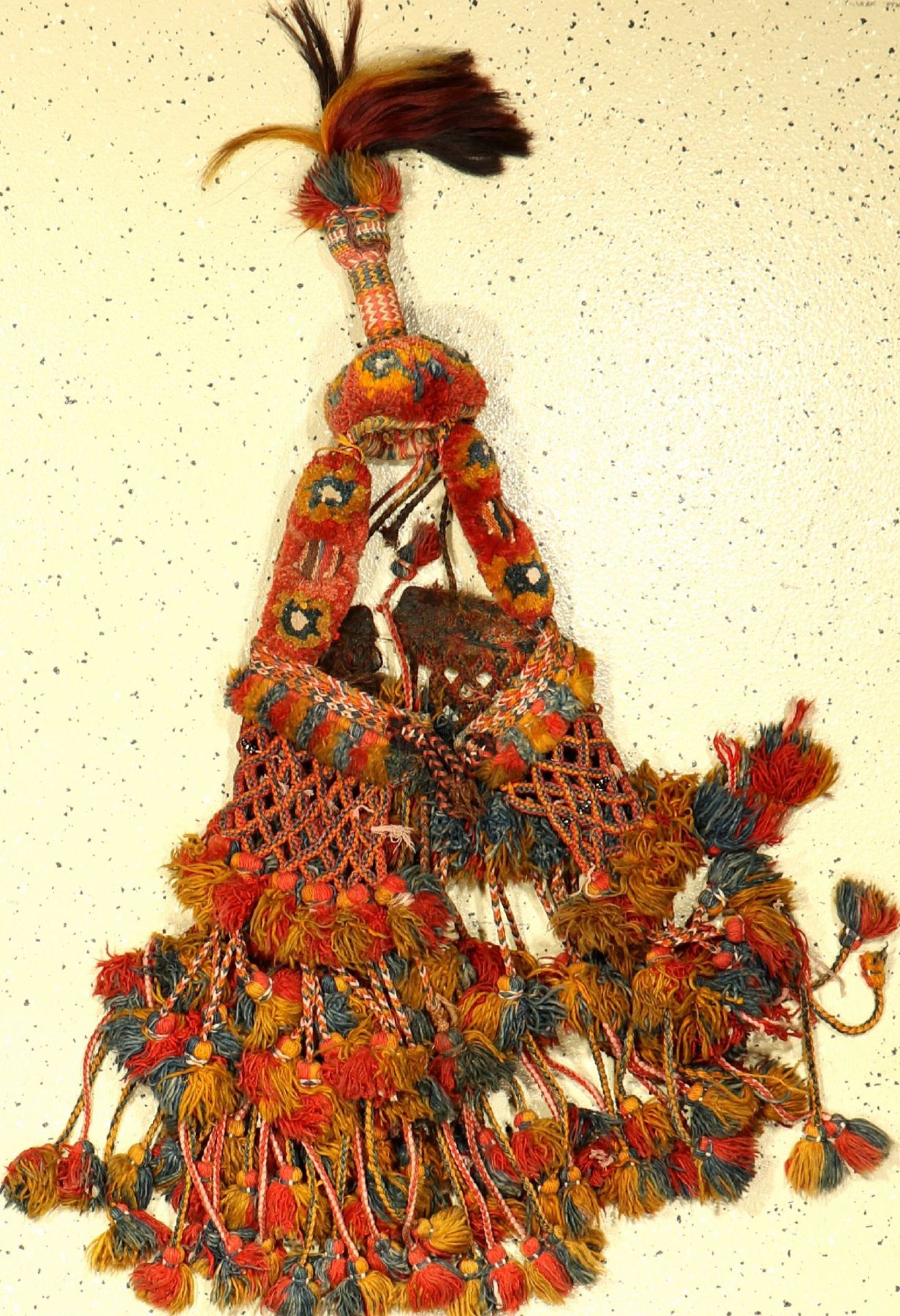Animal Head-Jewelery antique, Morocco, around 1920, wool on wool, approx. 115 cm, rare, condition: