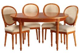 "Table with 4 chairs, ""Anno Dom"", Germany, cherry tree partly solid, cherry veneered top,extendable"