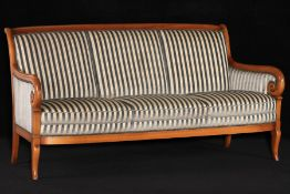 3-seater sofa, in the style of 1830, solid cherry frame, elegantly curved front, handrails ending in