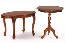 telephone table, partly solid wood, walnut veneer, inlays in shape of flowers and leafing using