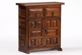 Half cabinet, based on the Spanish model from 1700, softwood body and hardwood, dark brown or