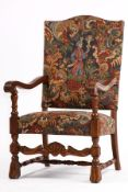 Armchair, based on the Italian model from 1730/40, solid oak frame, with rich turning work,