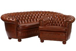 3-seater sofa and 2 armchairs, in Chesterfieldstyle, brown leather covers of very good quality,