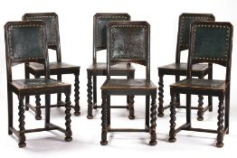 6 chairs, German, around 1890/1900, frames solid oak, blackened, good middle-class furniture, spiral