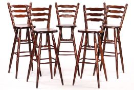 5 bar stools, solid wood, stained dark brown, stable workmanship, traces of use, each approx.