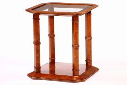 Side table, solid root wood, stained red- brown, beautiful wood grain, octagonal, inlaidfaceted