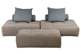 Pixel sofa combination, 3 seat modules, 2x 122x122 cm each, 1x 122x82 cm, 2 cushions withdove-blue