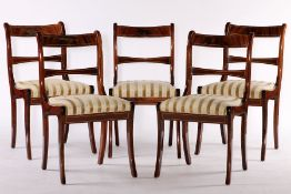 5 chairs, partly solid Mahogany and veneer, elegantly curved, ocher and cream-colored striped fabric