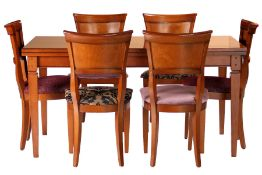 Table with 6 Chairs, table partly cherry solid, plate surface cherry veneer, sides withextension