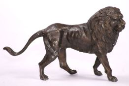 Lion, bronze, idealistic representation, dark brown or anthracite, oriented to the right, good heavy