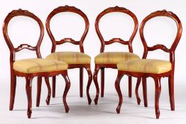 4 chairs, modeled on 1860, so-called spoon chairs, solid walnut frames, stained on cherrywood,