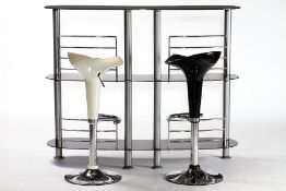 Bar counter with 2 stools, composed of severalparts, structure in 3 floors, black glass shelves in a
