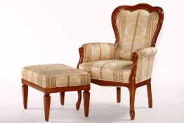 "Armchair with stool, ""Selva"", Italy, solid walnut frames, stained on cherry wood, armchair"