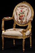 Armchair, frame in solid wood, painted gold, abstract floral decorative frieze a. Rose petals carved