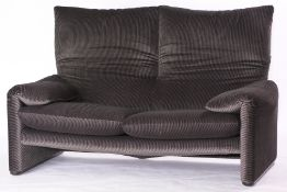 "2-Seater Couch ""Cassina"", made in Italy, Modell: Maralunga, fabric cover vertical striped grey and"
