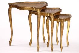 Set of 3 side tables, wood, triangular basic shape, painted gold, curved on all sides, cover