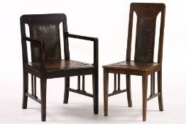 Chair, German, around 1905, pure abstract Art Nouveau, under the great influence of Riemerschmid (
