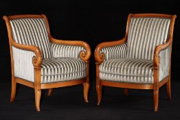 Pair of Armchairs, style of 1830, solid cherryframe, elegantly curved front, handrails ending in
