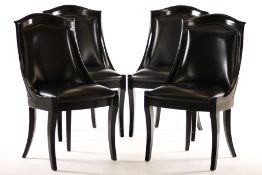 4 chairs, in Art Deco style, solid wood frames, black lacquered, black leather covers,comfortable
