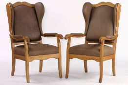 Wingback armchair, solid oak frame, gray-brownleather upholstery, with nail decoration,
