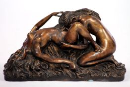 Women making love, bronze, brown, golden brownand anthracite patinated, erotic vivid reproduction,