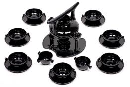 Tea or coffee service, design by Luigi Colani,Friesland Germany ceracron, for 7 people, black