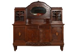 Credenza, German, composed of two parts, solidoak body and veneered, front worked on frame, upper