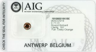 Loose brilliant 0.75 ct fancy deep orange/si 1, AIG certificate Valuation Price: 2000, - EURLoser