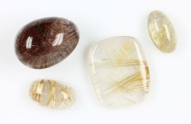 Lot 4 quartzes with rutile inclusions , total approx. 400 ct, 3 x gold coloured, in different
